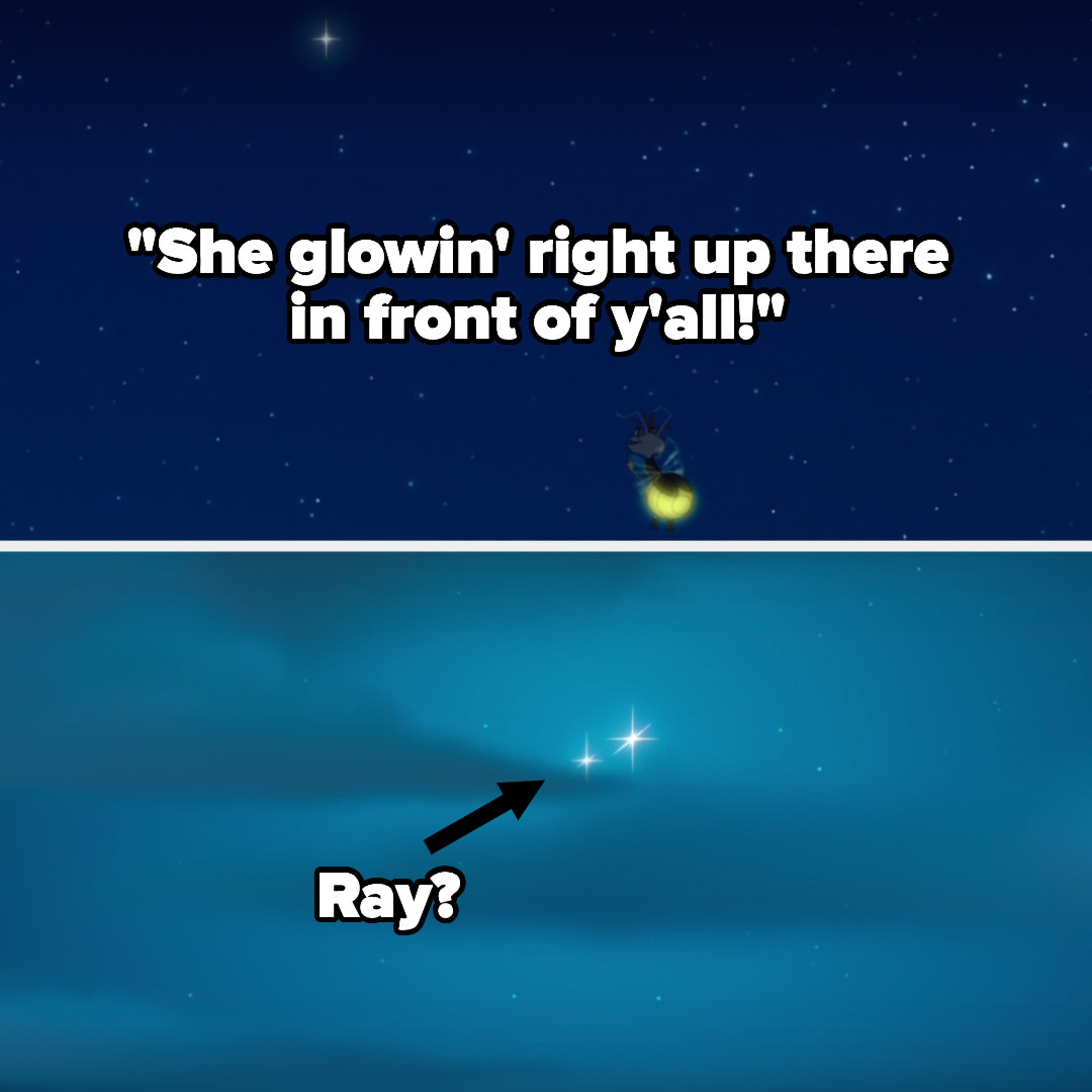 Ray telling everyone Evangeline is glowing above them and pointing to a star, and then later there's a star next to Evangeline