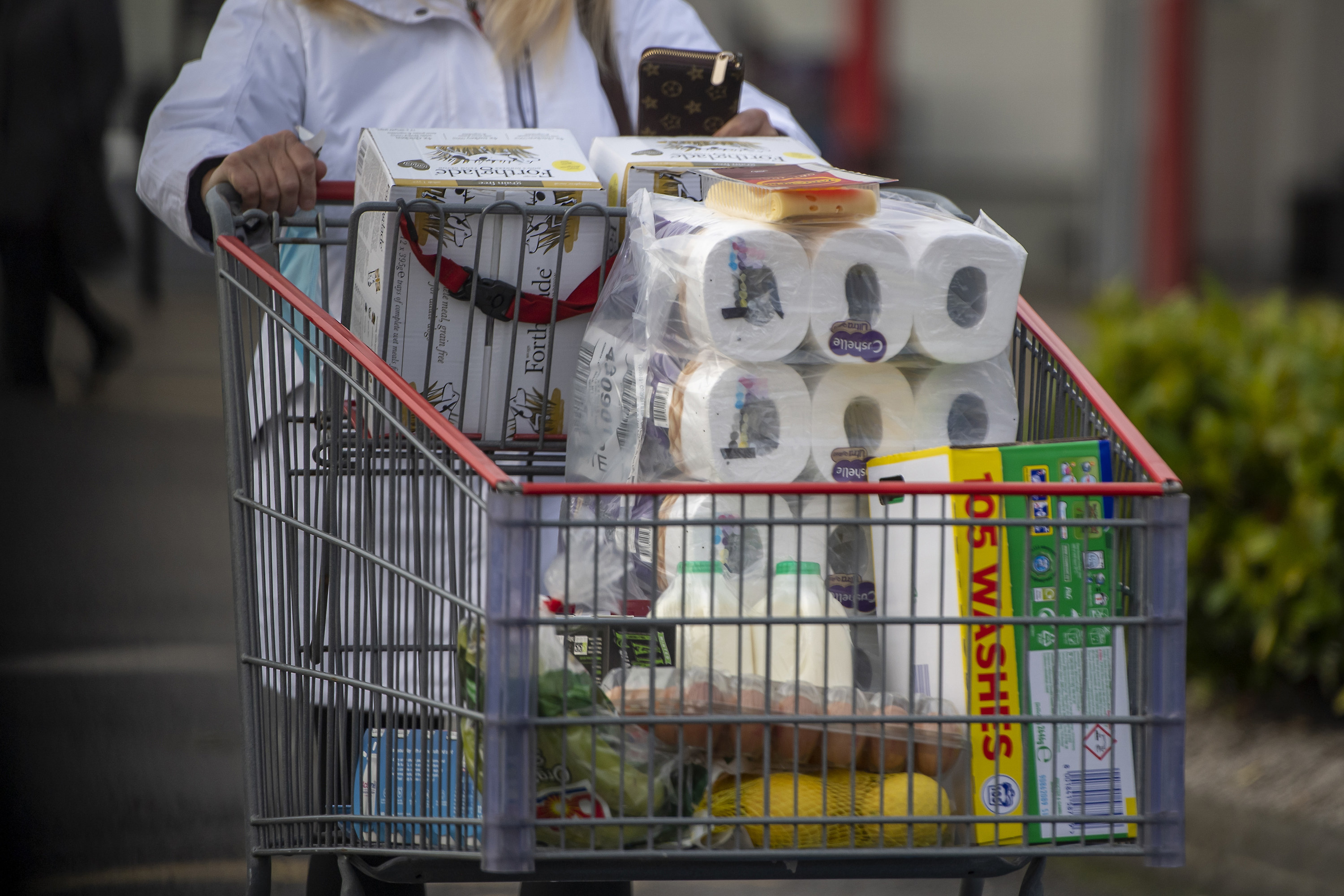 A woman pushing her groceries in a cart