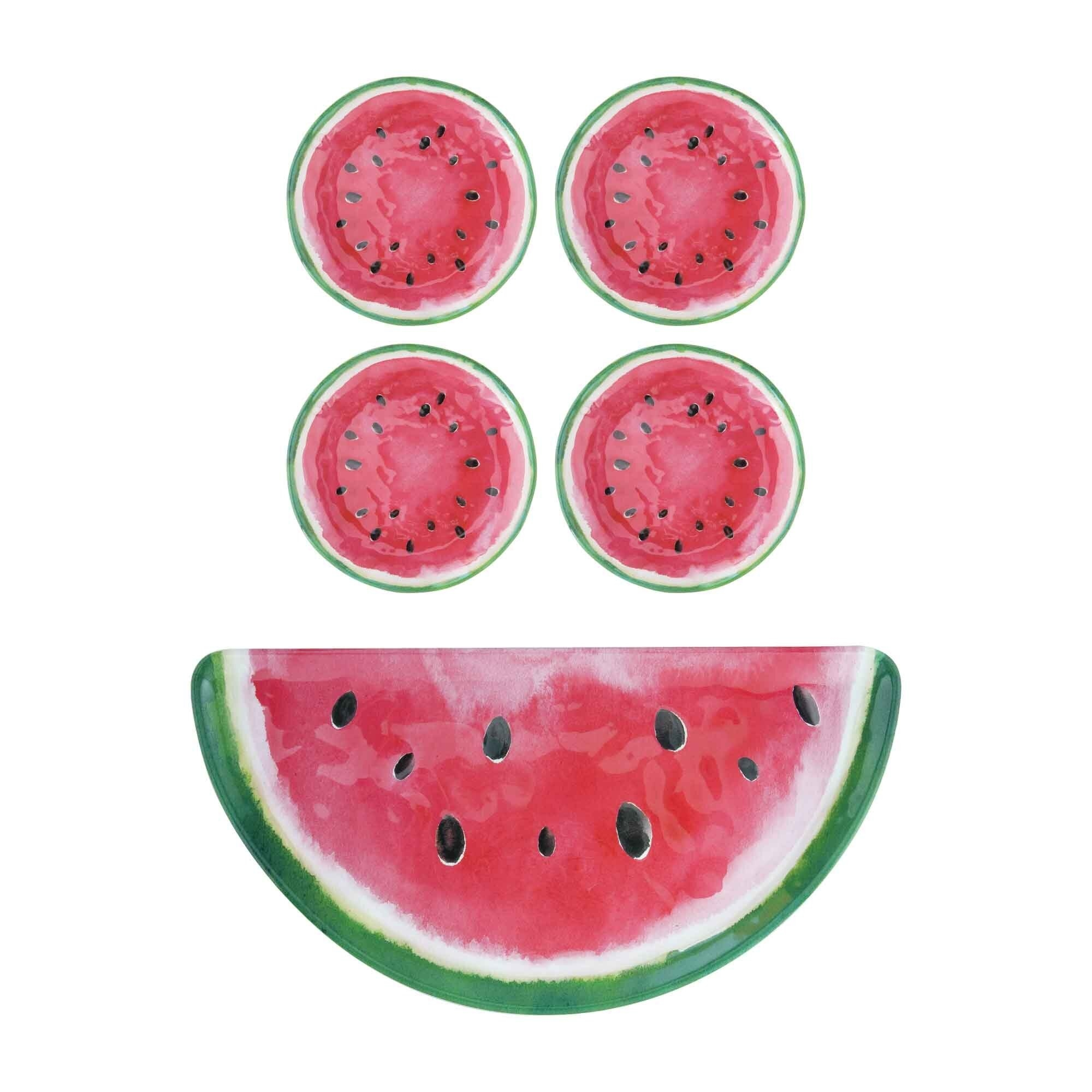 The set, which is watermelon printed, with a half serving platter and four plates