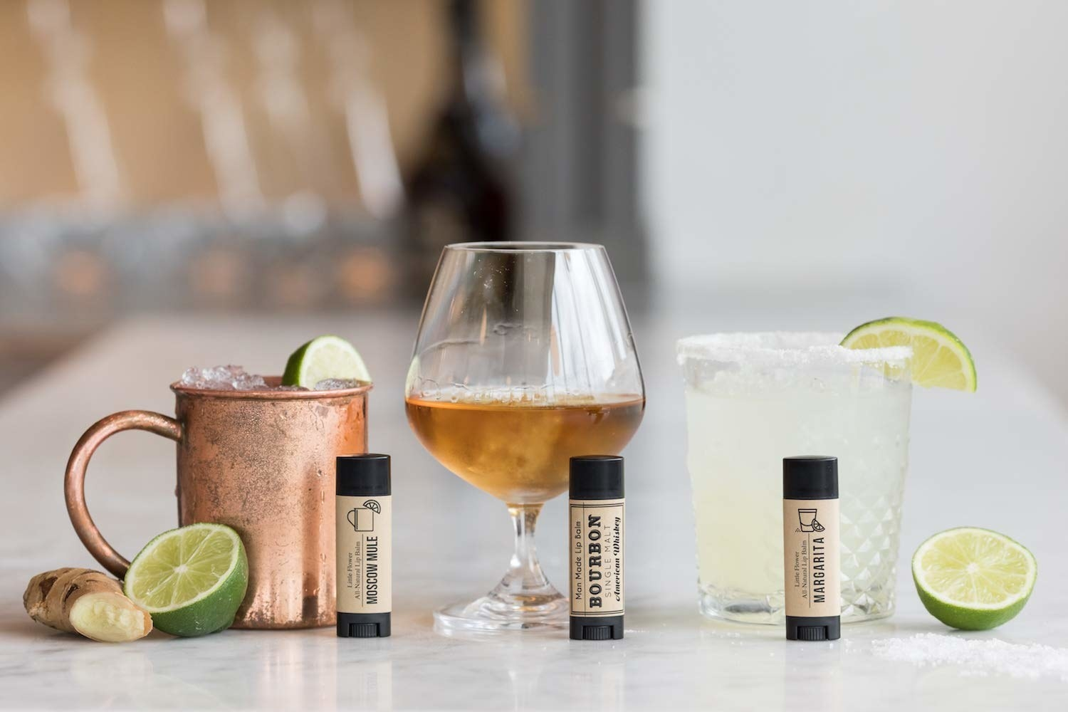 moscow mule, whiskey, and margarita with corresponding lip balms