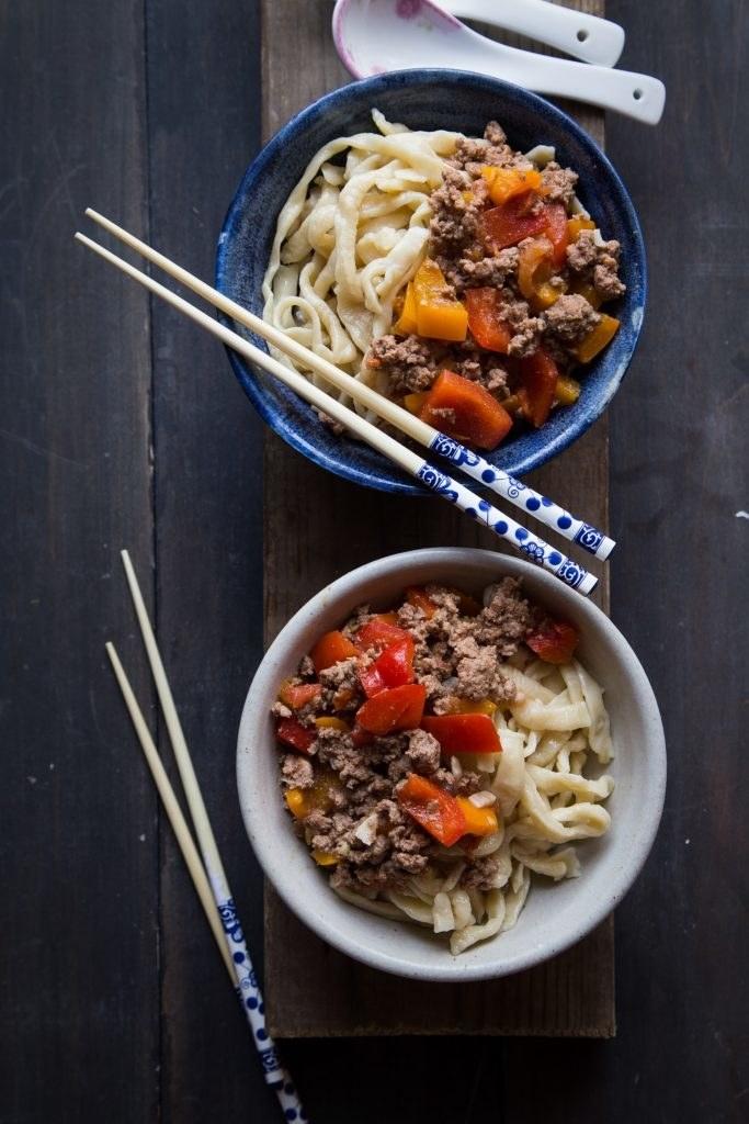 Two bowls of Laghman noodles