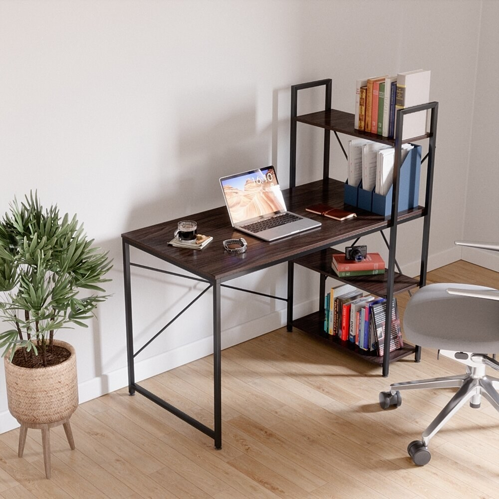 The desk, which has a dark brown wood top, and an open bookcase on the right side made from dark brown wood shelving and black metal