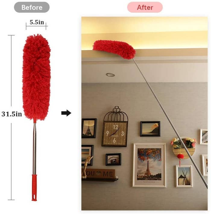 The duster which is 31.5 inches when collapsed but can reach up to the ceiling to dust