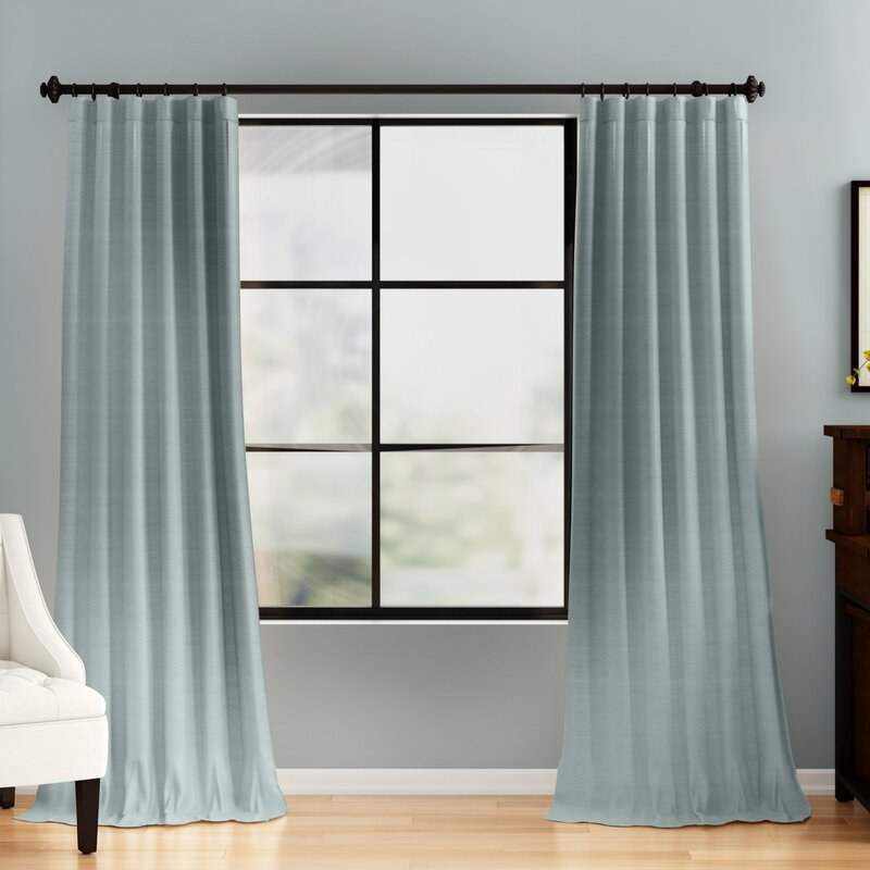 The curtain in blue