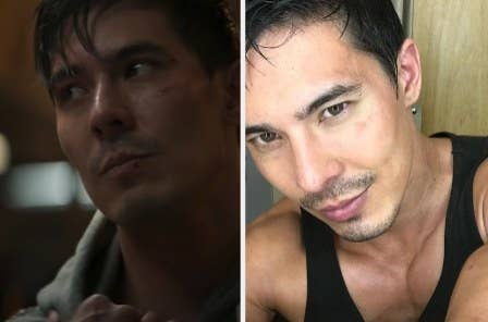 Lewis Tan as Cole Young side by side with an Instagram photo of Lewis Tan