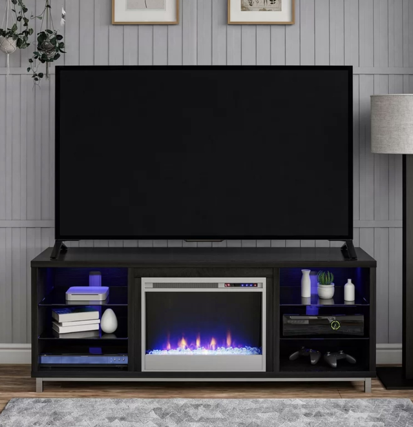 the tv stand in black oak