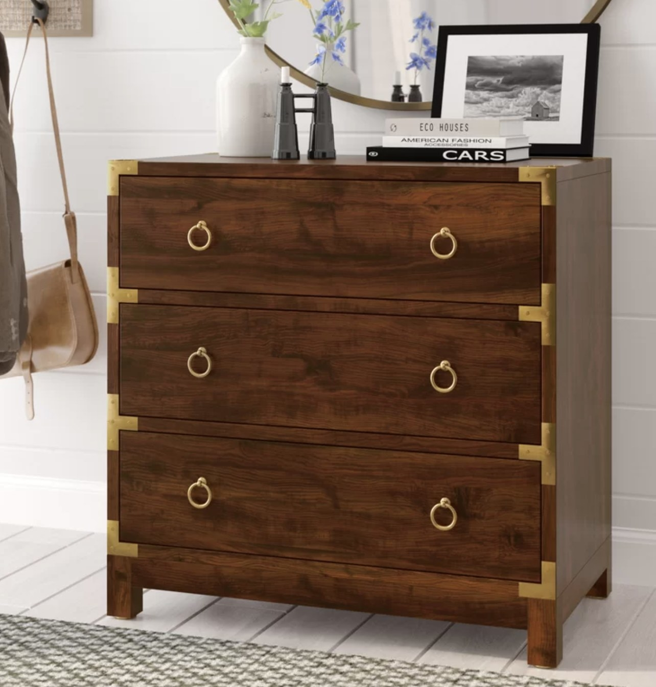 the drawer unit in brown with gold accents