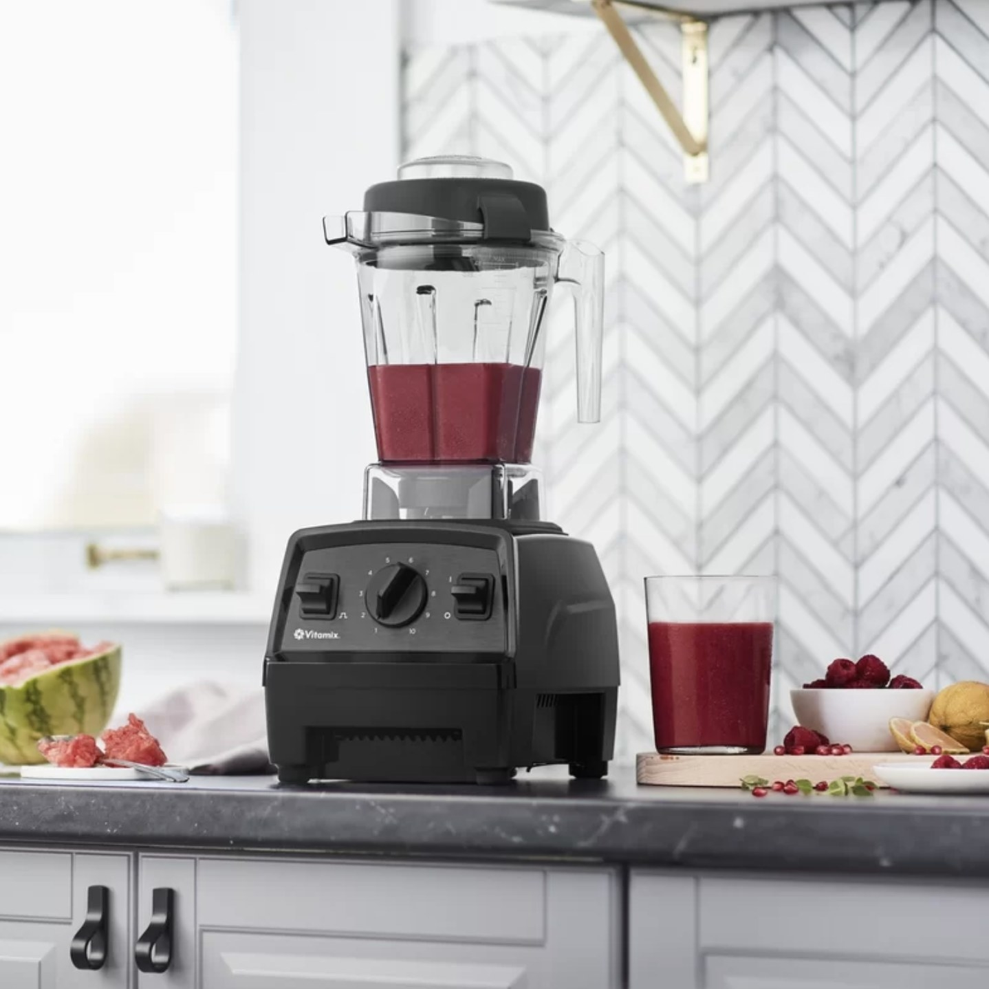 The Vitamix on a kitchen counter