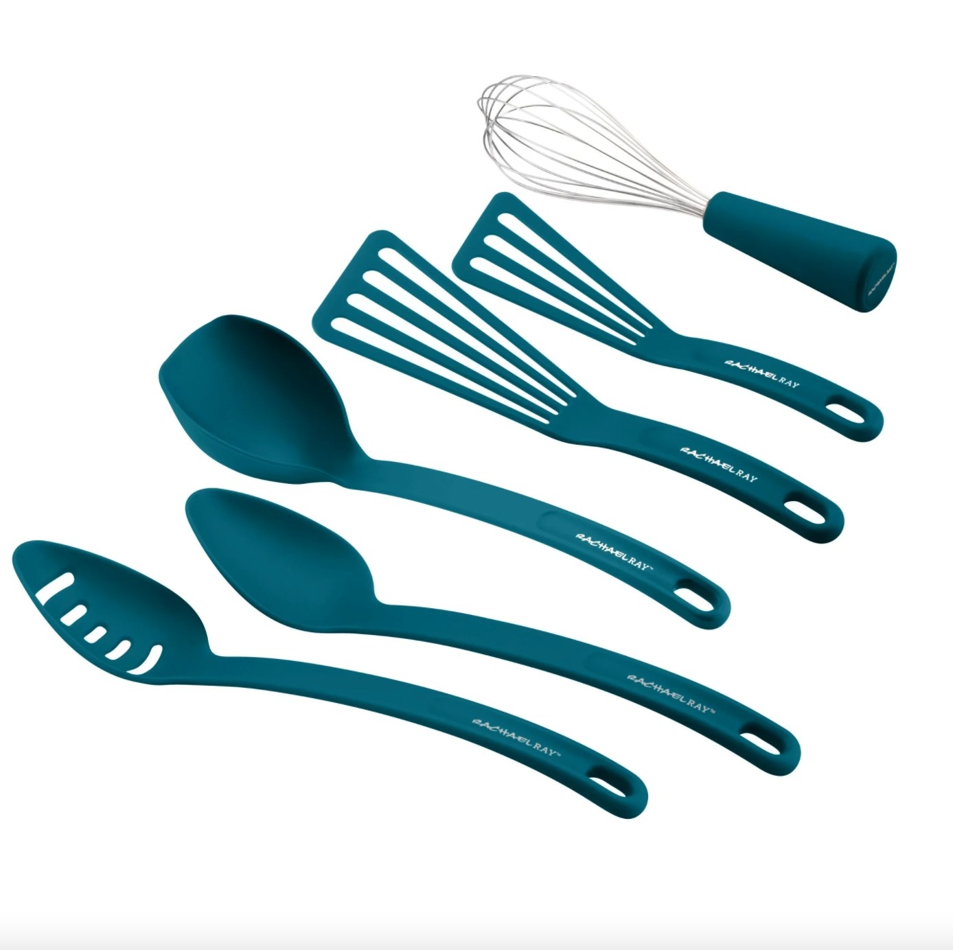The six-piece kitchen set of gadgets in marine blue