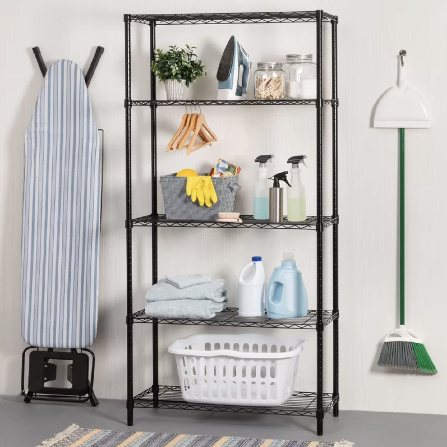 The shelving unit with several things on it