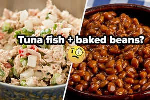 A bowl of tuna fish salad and a pot full of baked beans.