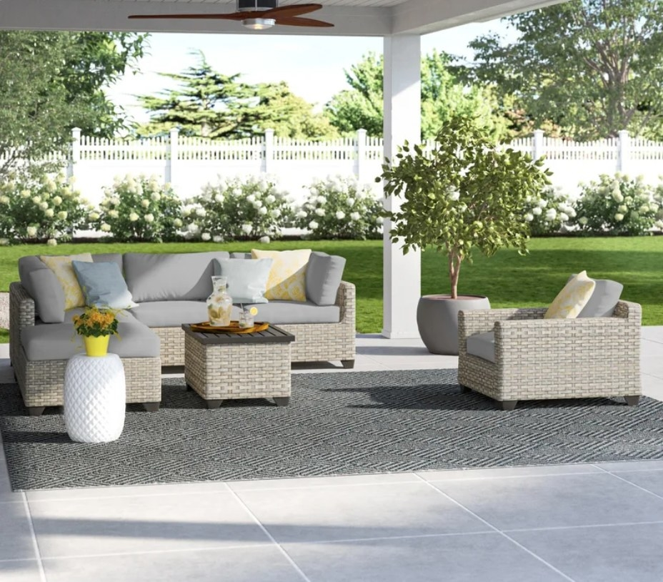 Gray outdoor furniture set on patio