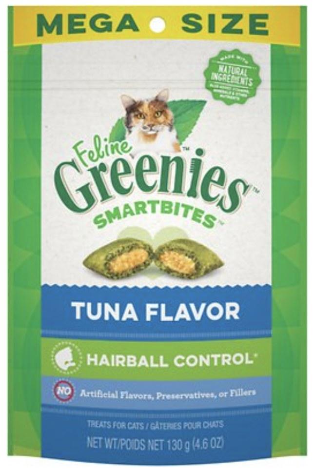 a bag of greenies hairball control treats
