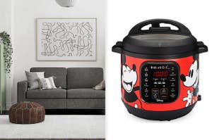 a grey sofa and a red and black mickey mouse instant pot