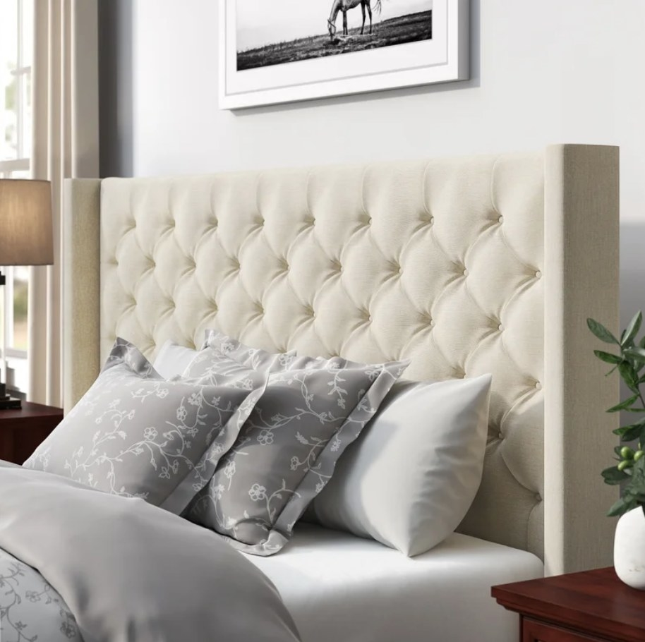 Square off-white tufted bed frame