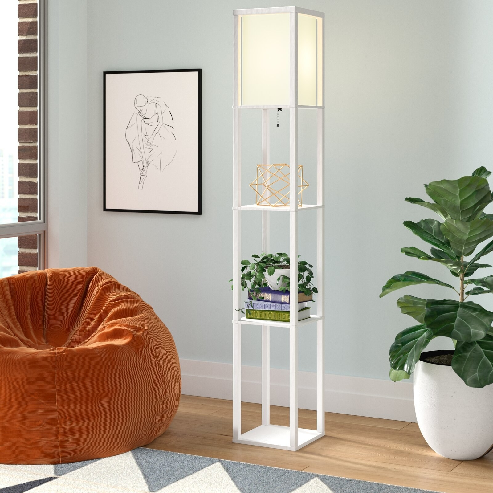 The lamp, which is tall, with three open storage shelves set between four long, rectangular poles, in white