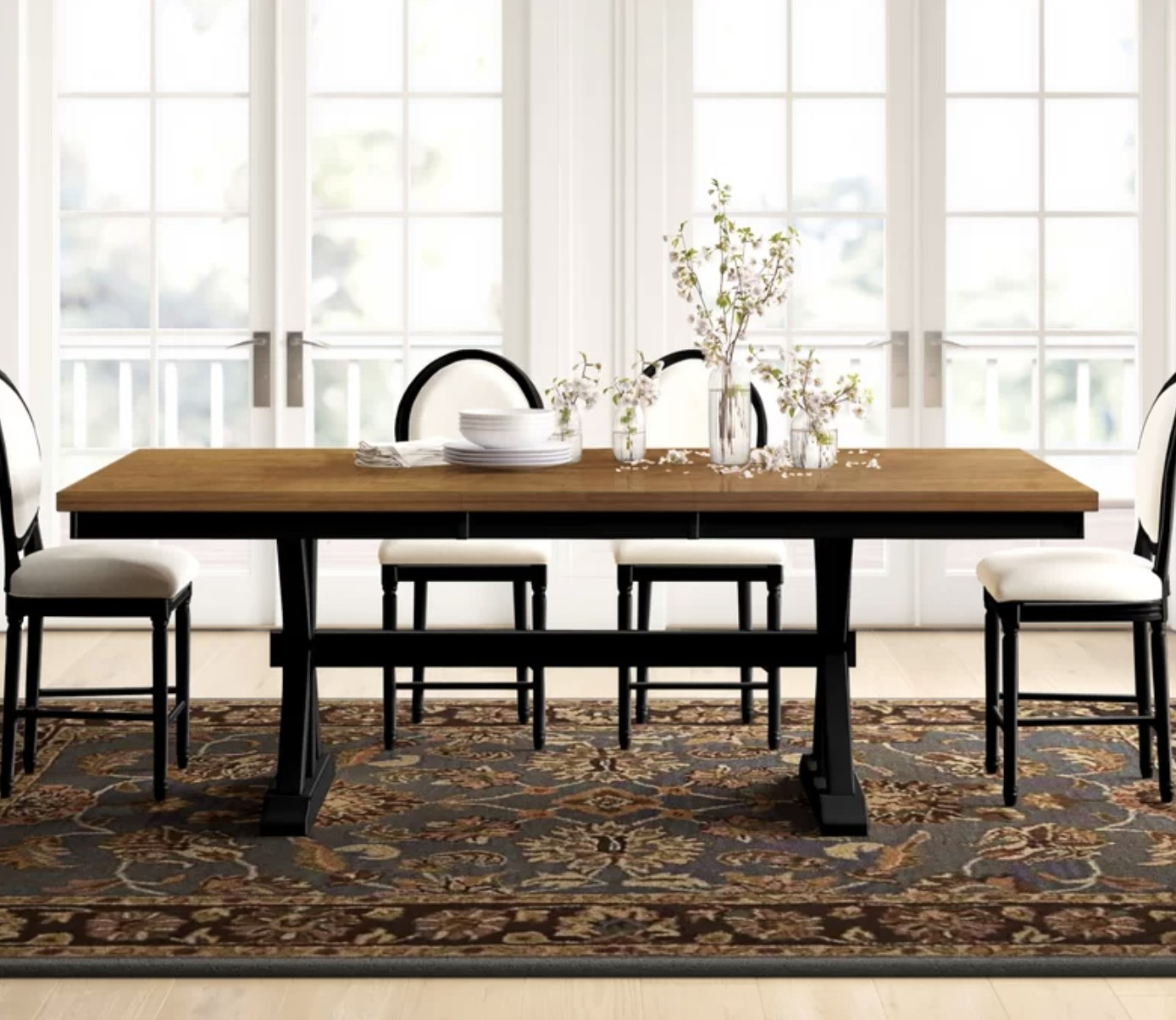 the dining room table in a dining room