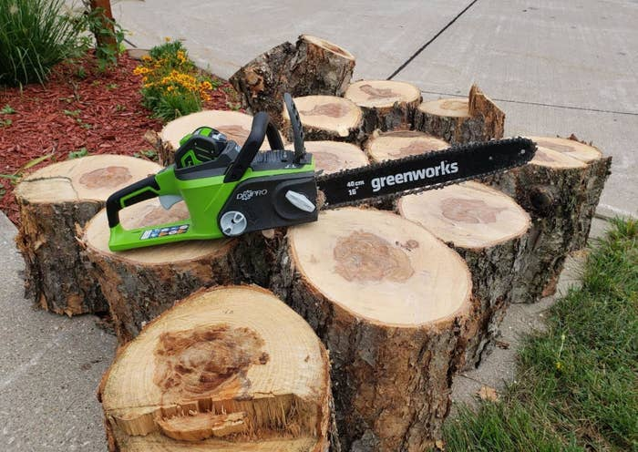 a reviewer's green chainsaw on top of a pile of logs