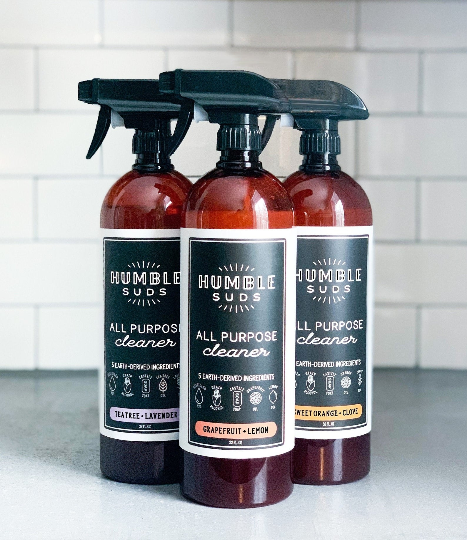 Three bottles of Humble Suds All Purpose Cleaner