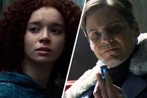 """Daniel Brühl as Helmut Zemo and Erin Kellyman as Karli Morgenthau in the show """"The Falcon and the Winter Solider."""""""