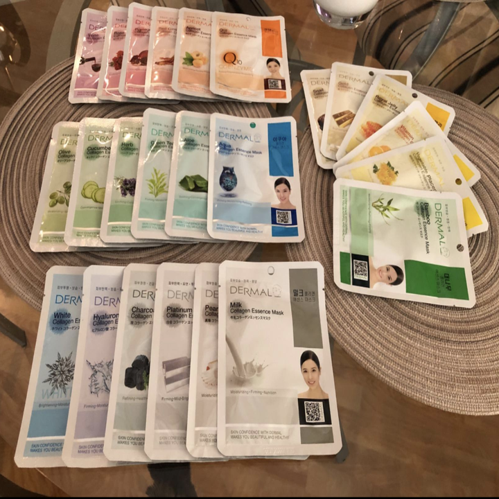 The individually packaged masks laid out on a table