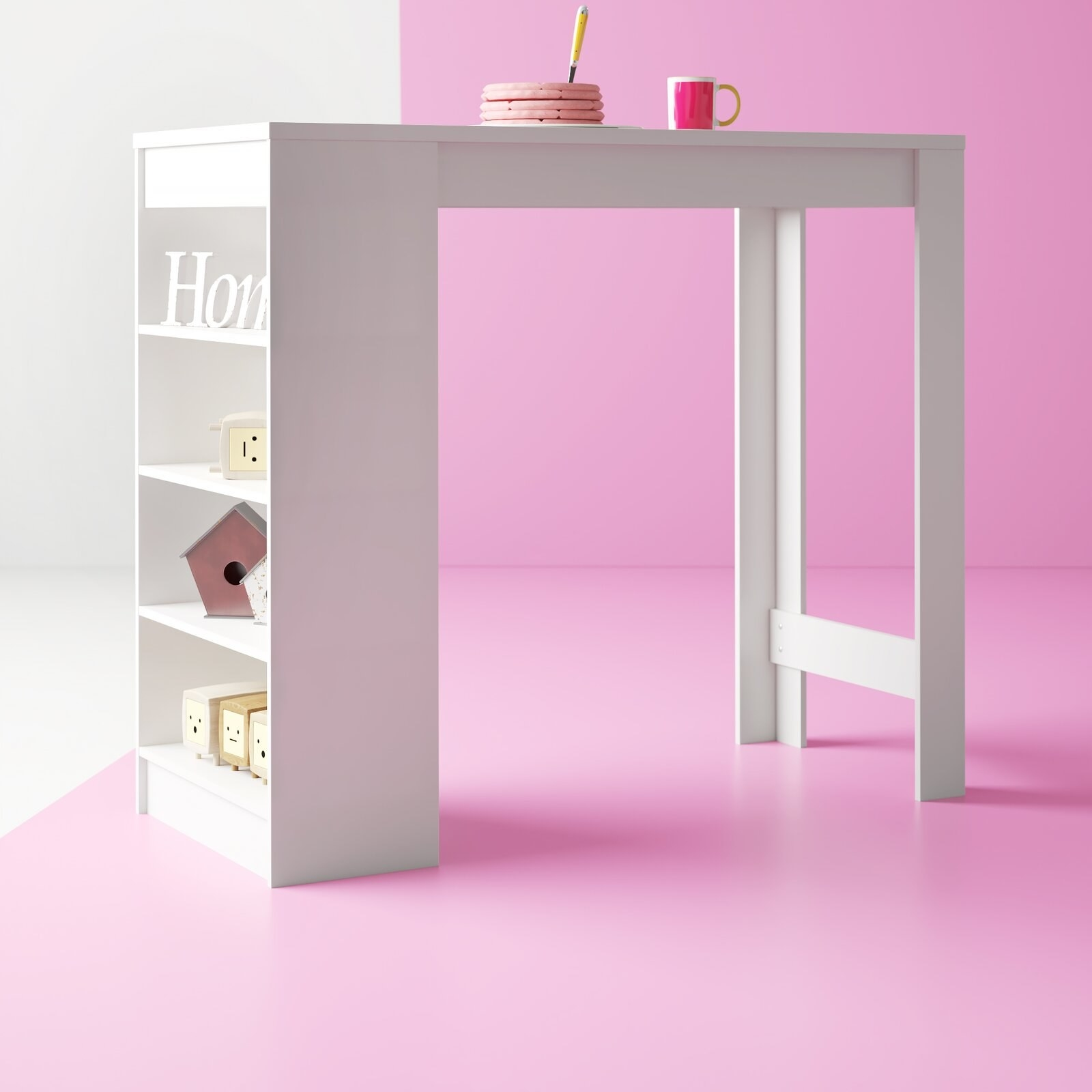 The table, which has four small open shelves built into one leg