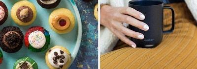 (left) Mini cupcakes (right) Temperature-regulating mug