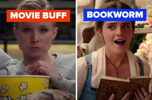 """A woman is watching TV on the left labeled """"MOVIE BUFF"""" with another woman reading labeled, """"BOOKWORM"""""""