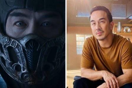 Joe Taslim as Sub-Zero side by side with a photo of him in his apartment