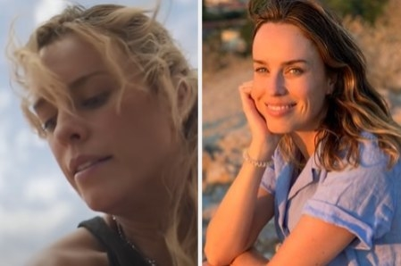 Jessica McNamee as Sonya Blade side by side with a photo of her on the beach