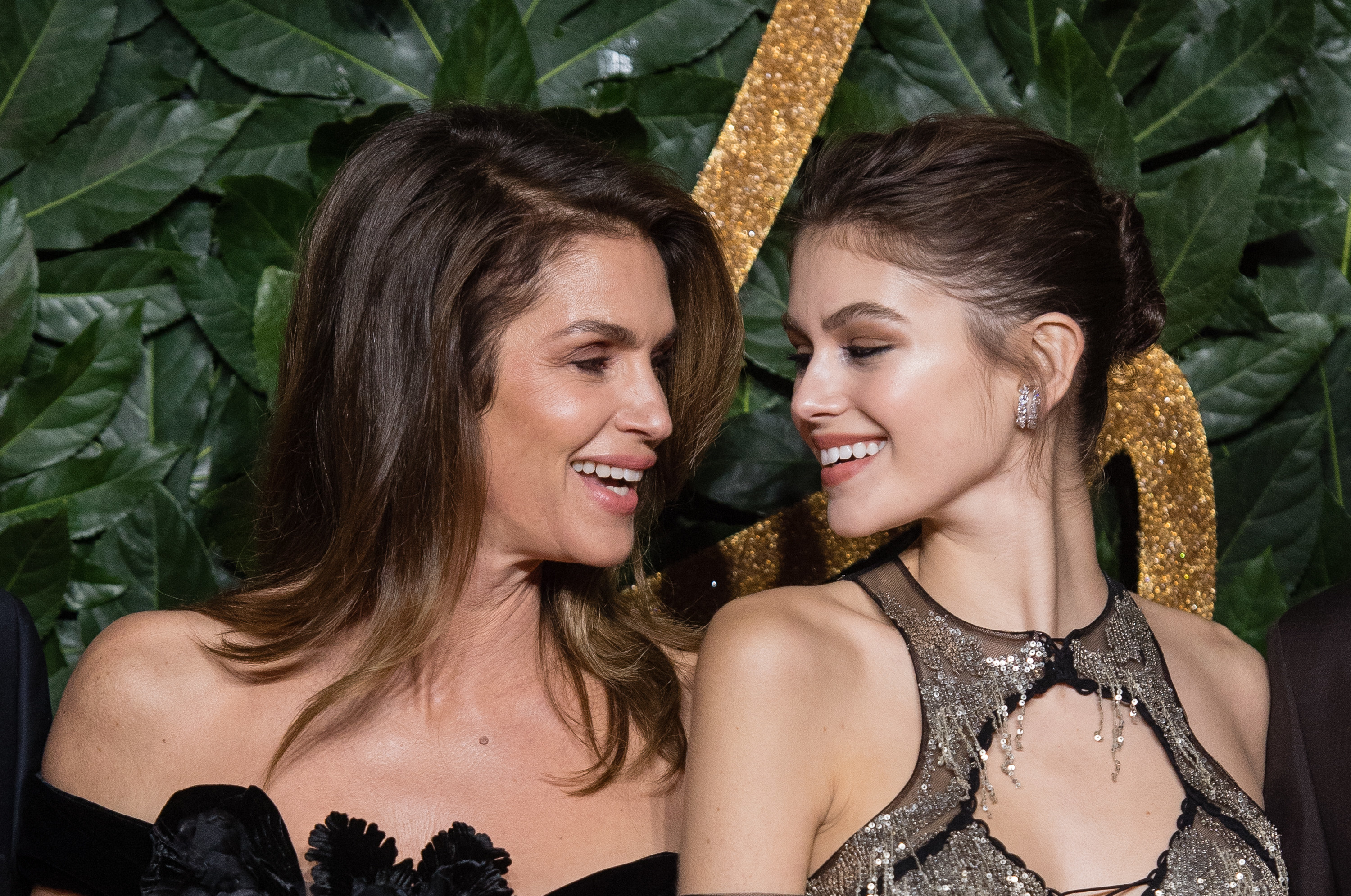 Cindy Crawford and Kaia Gerber in fancy dresses at a red carpet event