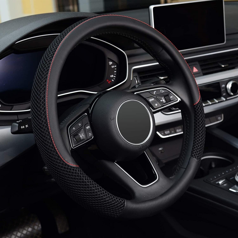 steering wheel cover on a steering wheel