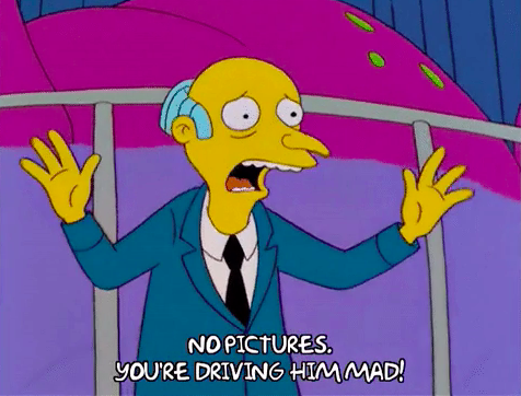 """Mr. Burns from """"The Simpsons"""" saying """"no pictures"""""""