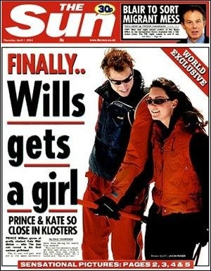 A cover of The Sun newspaper showing William and Kate dressed in ski clothes