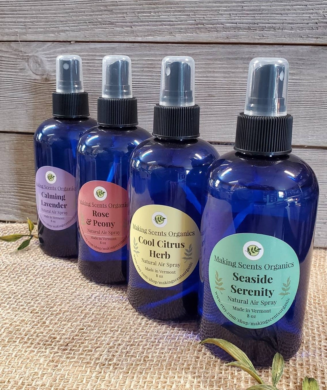 Bottles of the calming lavender, rose and peony, cool citrus herb, and seaside serenity scents
