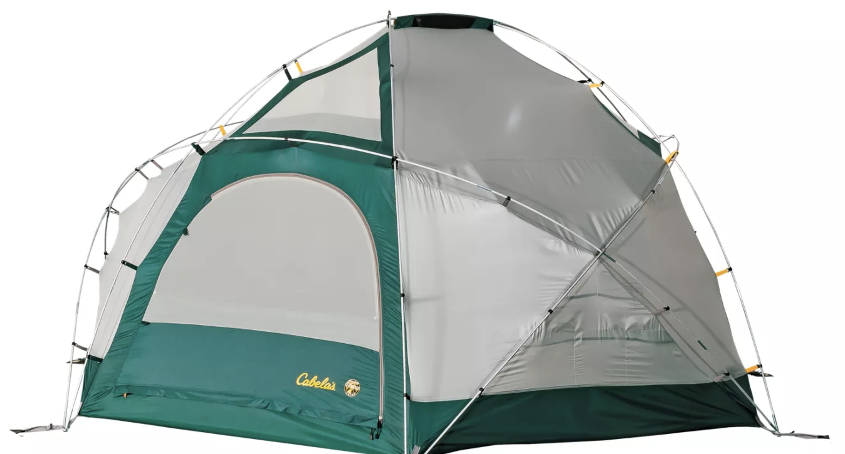 a gray and green pop up tent