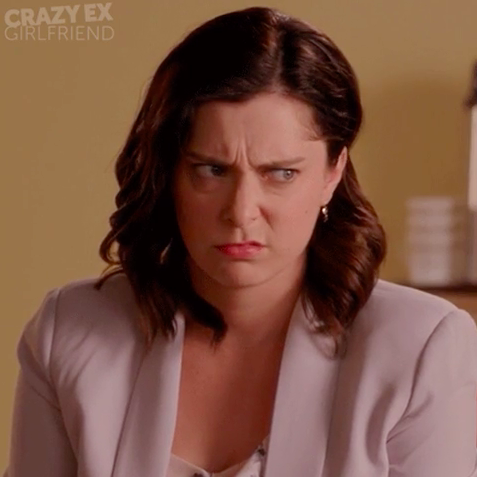 """Rachel Bloom from """"Crazy Ex-Girlfriend"""" making a disgusted face"""