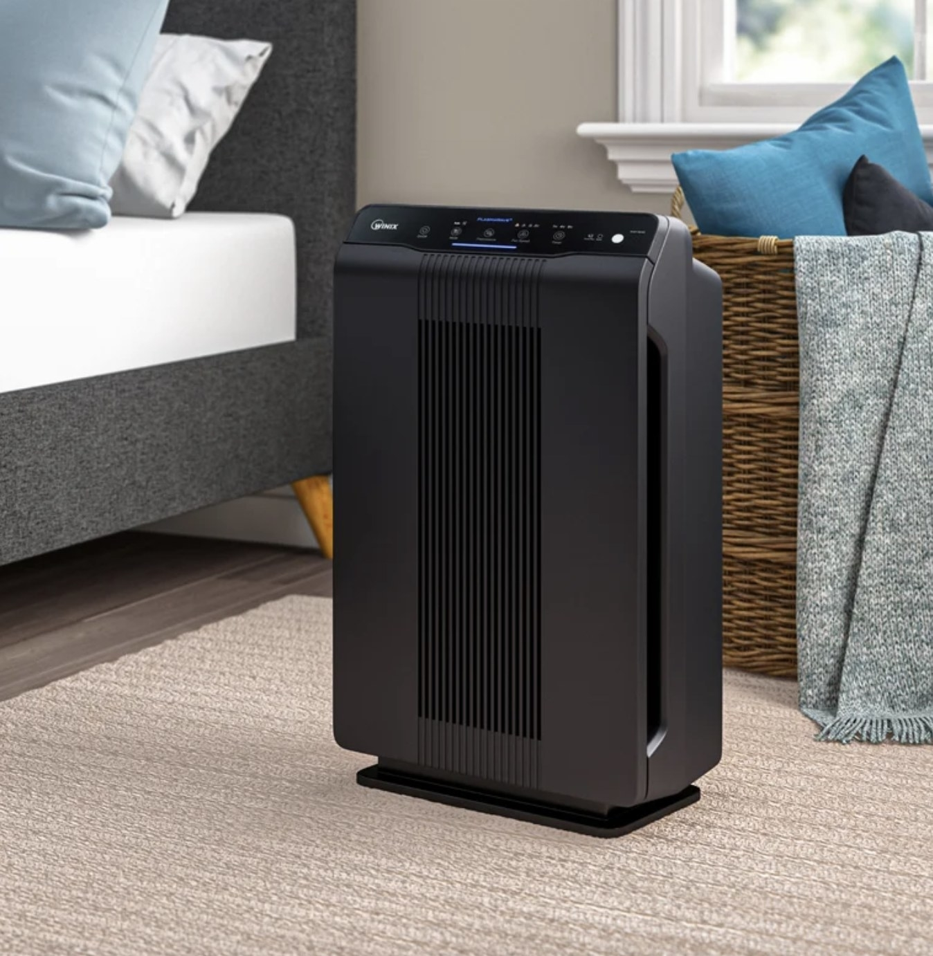 the air purifier in a bedroom