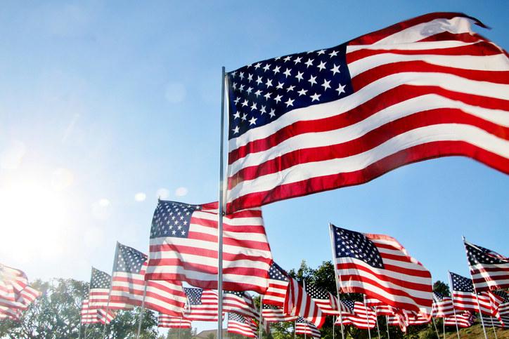 lots of american flags