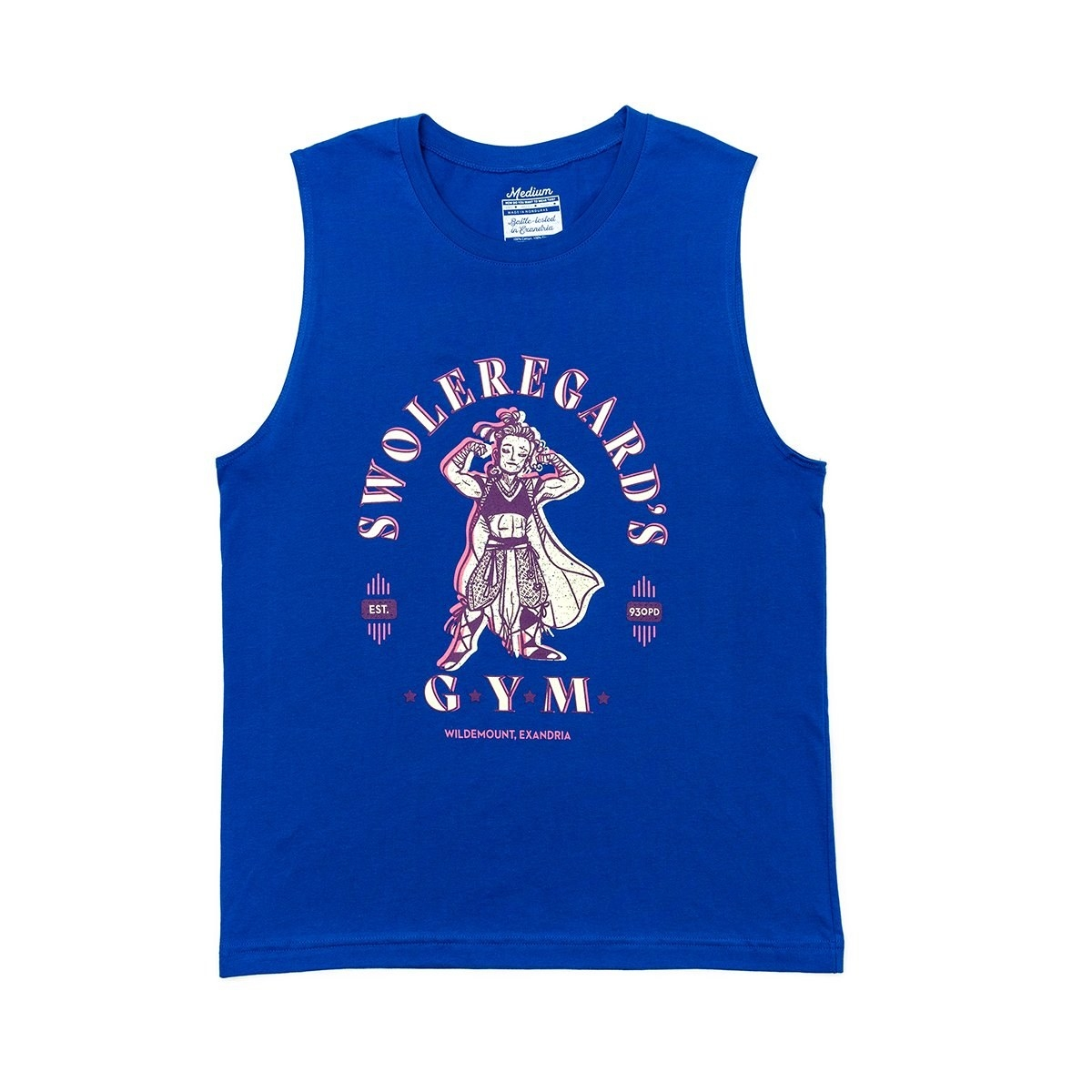 """a blue muscle tank with a muscular character on it and """"swoleregard's gym"""" on it"""