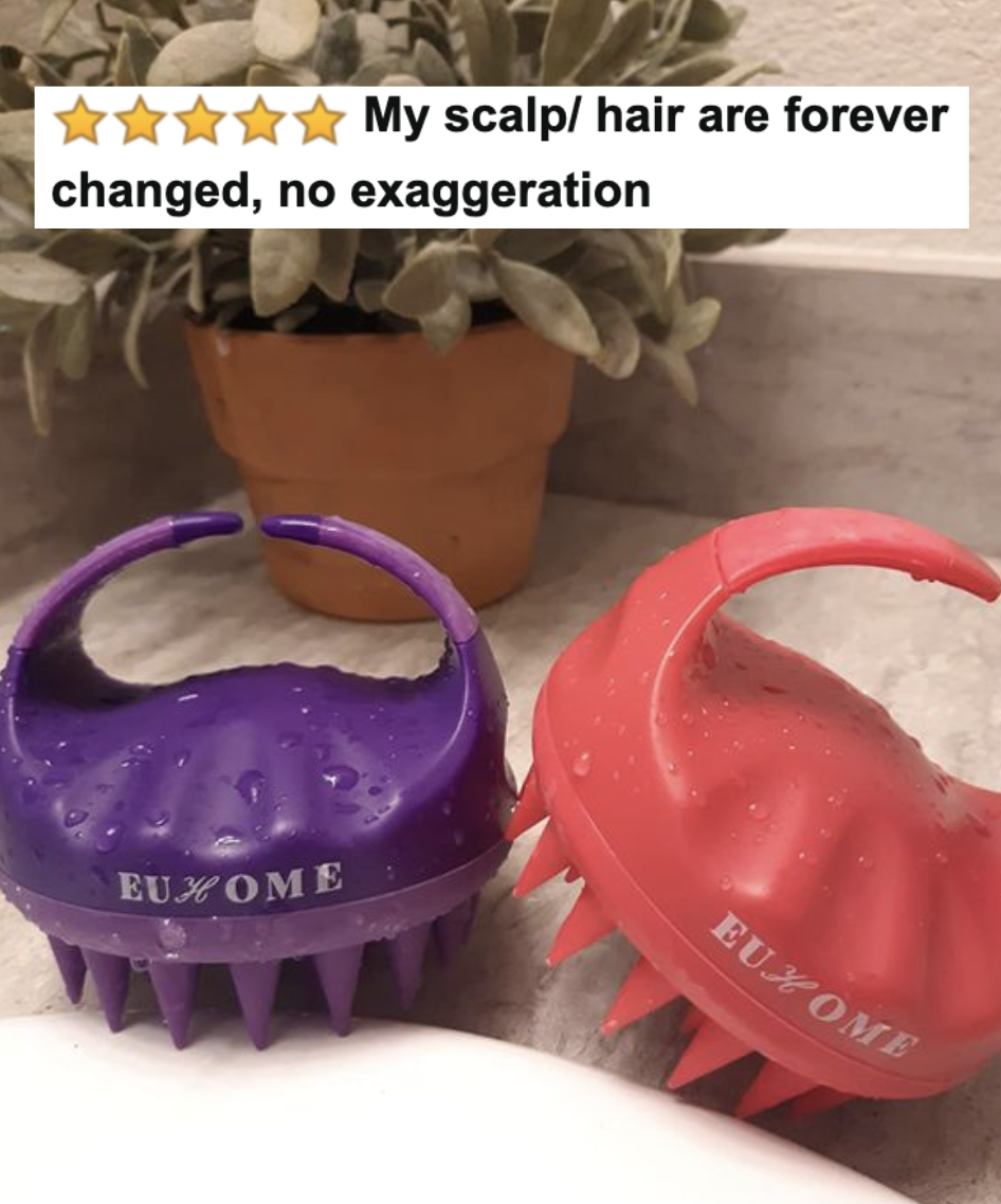"""Reviewer's picture of the scalp massager with five-star caption """"my scalp/hair are forever changed, no exaggeration"""""""