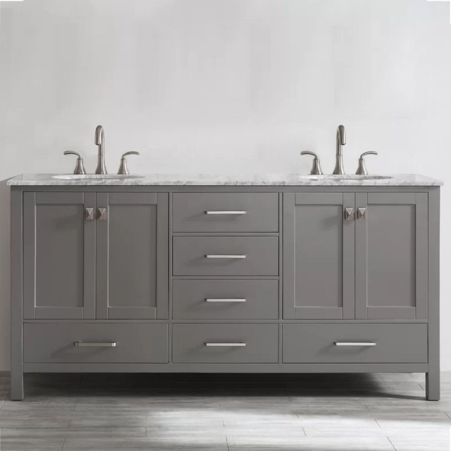 A 72-inch, grey double bathroom vanity set with a white and grey marble countertop