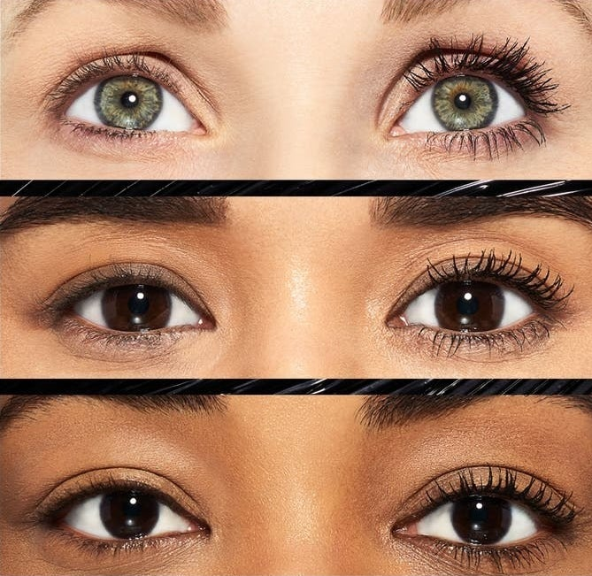 Models of different skin tones show one eye eithout the product and one with it on