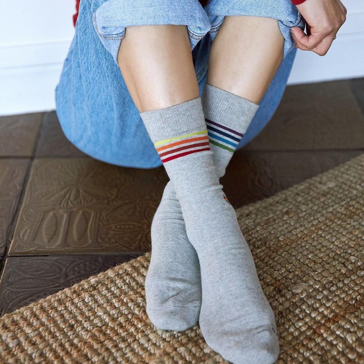A person wearing the socks