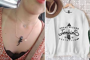 """a reviewer wearing a Jiji necklace, and a sweatshirt printed with """"Great Wizard Jenkins"""""""