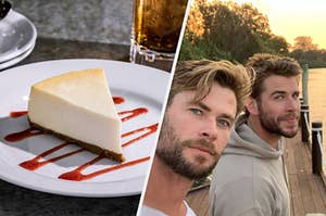 the hemsworth brothers beside a cheesecake