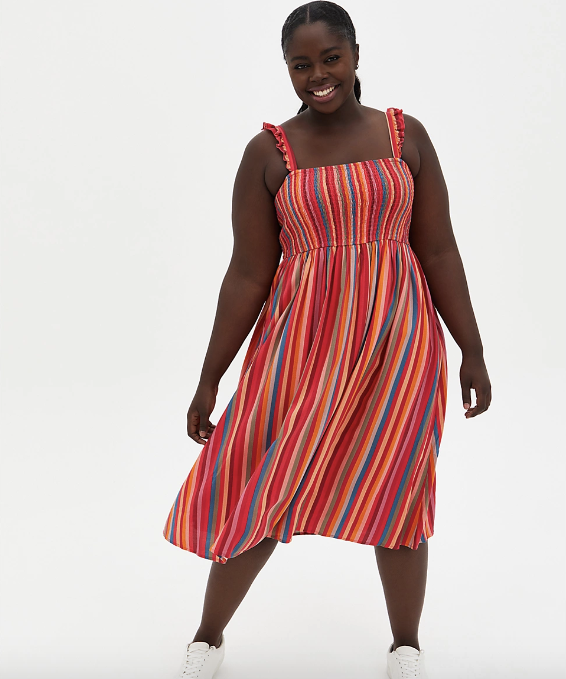 a plus size model wearing the pink stripe challis smock dress with white sneakers