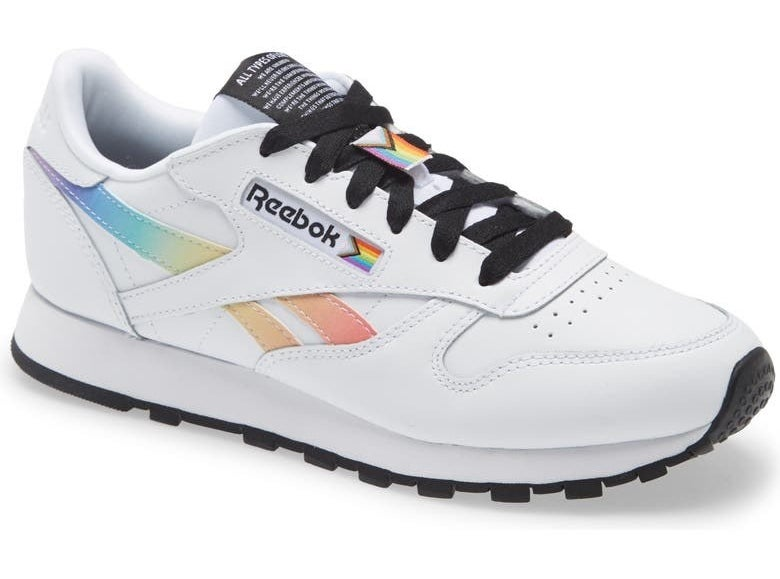 The shoe in white, rainbow, and black