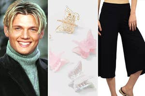 Nick Carter is on the left with butterfly clips in the center and gaucho pants on the right