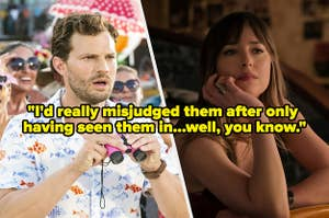 """Jamie Dornan and Dakota Johnson with text reading, """"I'd really misjudged them after only  having seen them in...well, you know"""""""